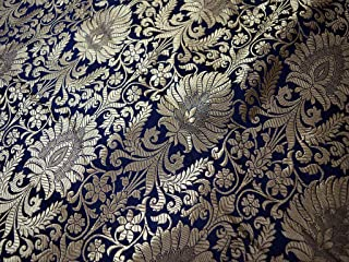 Navy Blue Gold Weaving Brocade Banarasi Silk Fabric Indian Silk Wedding Dress Brocade Fabric