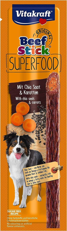 Vitakraft - Beef Stick Superfood, Snack para Perros de Carne con Zanahoria y Chía - 25 g