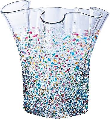 アデリア 津軽びいどろ 花瓶 ねぶた 最大19×高20cm フリル花器 1個箱入 日本製 F-79455