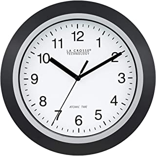 La Crosse Technology WT-3102B 10-Inch WWVB Self-set Analog Wall Clock and automatic DST reset,Black/silver