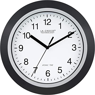 Amazon Com La Crosse Technology Wt 3102b 10 Inch Wwvb Self Set Analog Wall Clock And Automatic Dst Reset Black Silver Home Kitchen