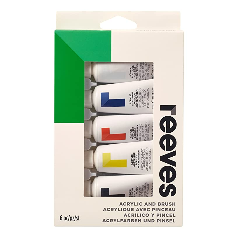 Reeves Acrylic Paint, Brush and Tube Set - 6 Pieces, Multicolour