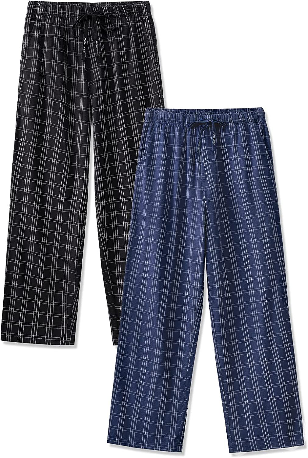 DAVID ARCHY Men's Soft Cotton Knitted Pajama Pants Lightweight Lounge Bottoms in 1 or 2 Pack