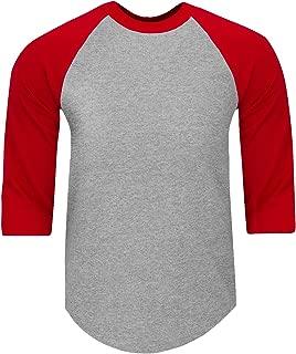Mens Baseball T Shirts Raglan 3/4 Sleeves Tee Cotton Jersey S-5Xl