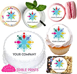 Edible Custom Logo Cupcake and Drink Toppers for Corporate Events, Party, Gala, Branding