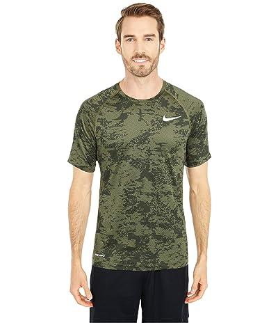Nike Pro Top Short Sleeve Slim All Over Print (Medium Olive/White) Men