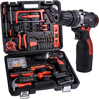 JAR-OWL Power Tools Combo Kit, 16.8V Cordless Drill Driver Tools With 60 Accessories for Home Daily Cordless Repair Tool Kit Set (Red) (Red)