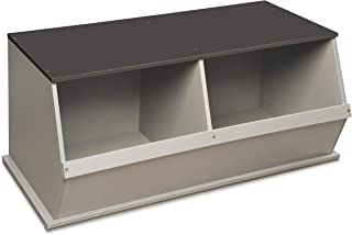 Badger Basket Stackable 2 Bin Open Storage Toy Organizing Cubby, Light Gray/Dark Gray
