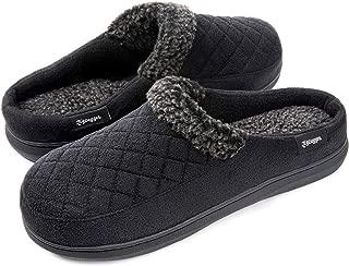 Zigzagger Men's Comfort Suede Fabric Memory Foam Slippers with Plush Fleece Lining