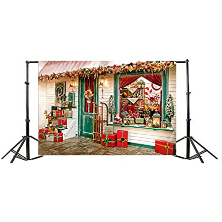 Yeele Christmas Wooden Backdrop Vintage Gifts Rack Interior Photography Background Kids Adults Artistic Portrait 9x9ft Xmas Party Events Photo Booth Photoshoot Studio Video Wallpaper