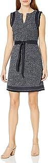 Ellen Tracy Women's Split Neck Shift Dress