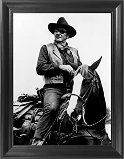 John Wayne 3D Poster Wall Art Decor Framed Print | 14.5x18.5 | Lenticular Posters & Pictures | Memorabilia Gifts for Guys & Girls Bedroom| The Duke on Horse Classic Movie & Vintage Cowboy Film Picture