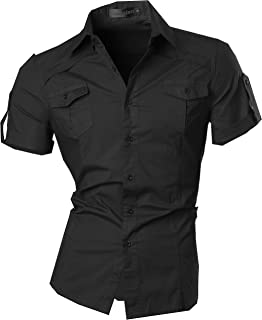 jeansian Men's Casual Slim Fit Short Sleeves Dress Shirts Tops 8360
