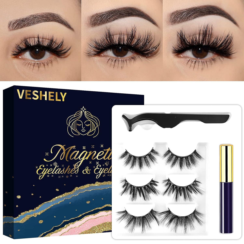 VESHELY Over item handling ☆ Mink Magnetic Eyelashes Industry No. 1 with 3 Pairs Long Faux Eyeliner