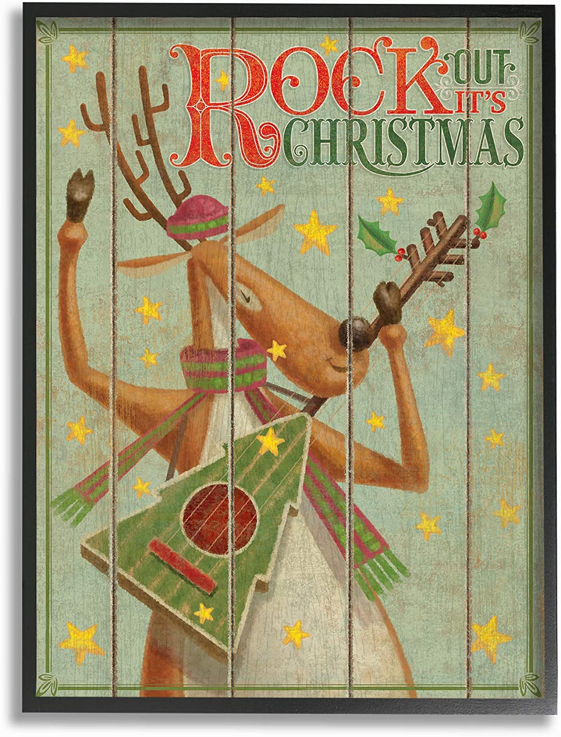 Stupell Industries Home Holiday Vintage Planked Look Music Rock Out Its Christmas Reindeer Framed Giclee Texturized Art, Multi-color