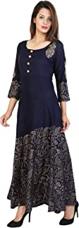 Women's Flared Gold Print 3/4 Sleeve Rayon Kurta.