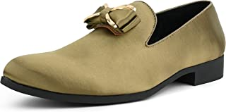 The Original Men's Faux Velvet Loafer with Decorative Stitching Adorned with a Gold Metal and Satin Bow Dress Shoe, Style Bowes