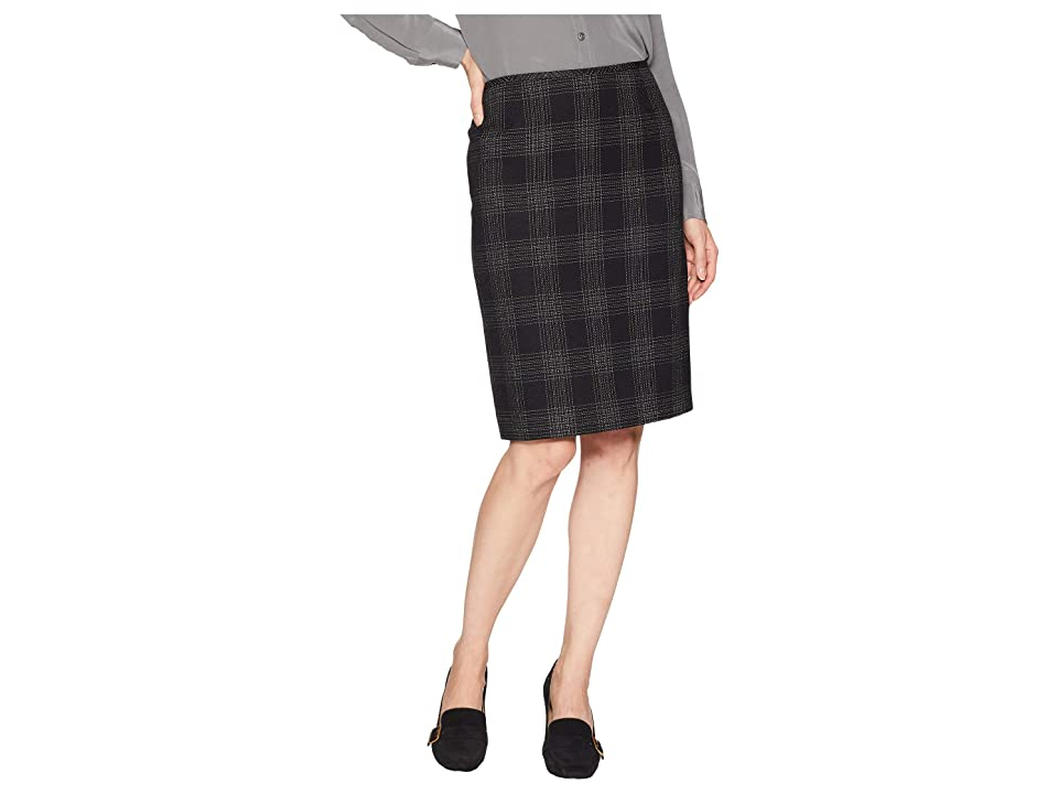 Tahari by ASL Novelty Plaid Pencil Skirt (Black/Ivory) Women