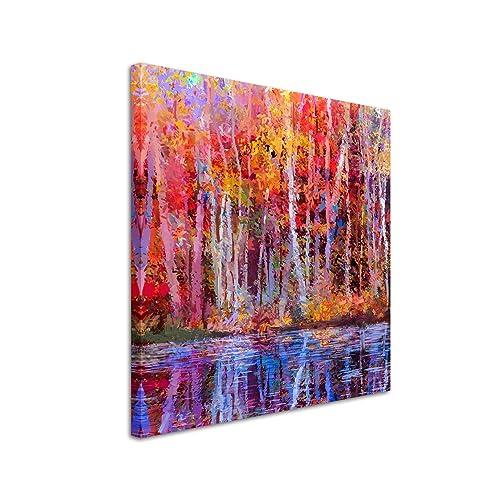 Leinwandbild 60x60cm Ölgemälde von farbendfrohen Bäumen im Herbst auf Leinwand exklusives Wandbild moderne Fotografie für ihre Wand in vielen Größen
