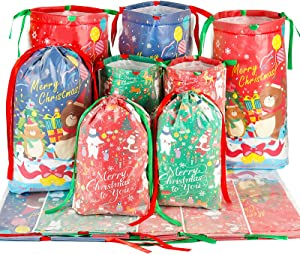 HRX Package Plastic Drawstring Gift Bags, 12pcs Christmas Treat Bags Goodie Pouches for Xmas Presents Party Favor