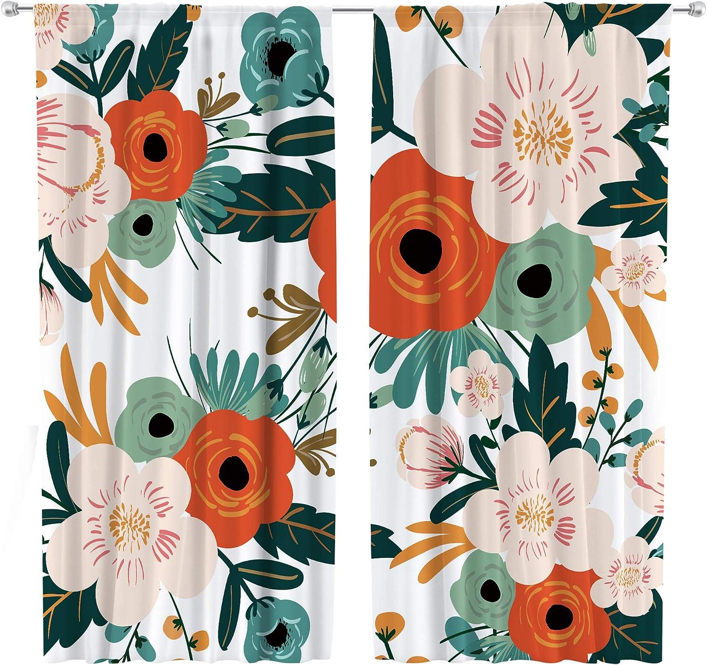 Riyidecor Floral Curtains Colorful Flower 42 x 63 Pocke Max 45% OFF latest Rod Inch