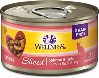 Wellness Natural Grain Free Wet Canned Cat Food Sliced Salmon