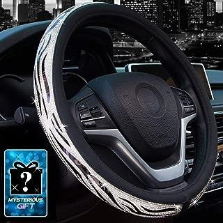 Didida Bling Steering Wheel Cover for Men Women Hot Wheels Applique Diamond Crystal Rhinestones Shiny Universal 15 Inch (Black)
