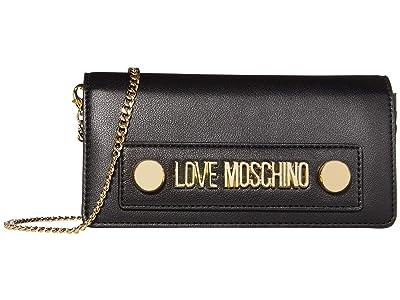 LOVE Moschino Love Log Stud Chain Wallet (Black Small Grain PU) Handbags