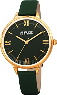 August Steiner Womens Quartz Watch, Analog Display and Leather Strap AS8263GN