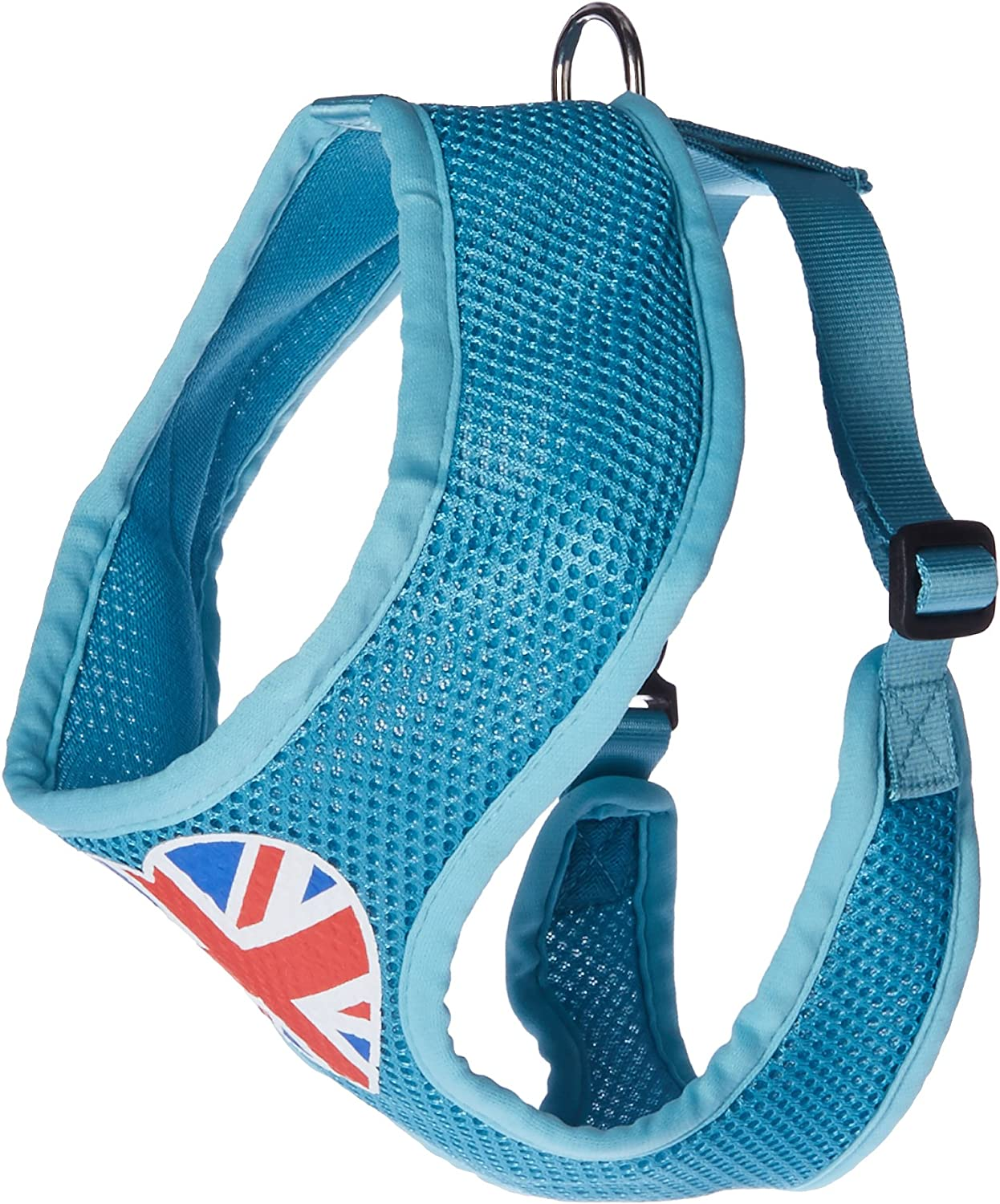 Mirage Pet Products Heart Flag UK Screen Print Soft Mesh Dog Harnesses, Large, Aqua