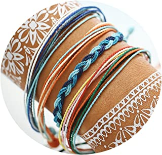 FINETOO Braided Rope Bracelet Set Handmade Waterproof Wrap Bracelet String Bracelet for Woman Kids
