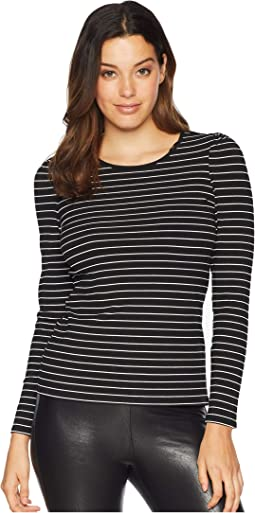 Long Sleeve Puff Shoulder Thin Ribbed Stripe Top