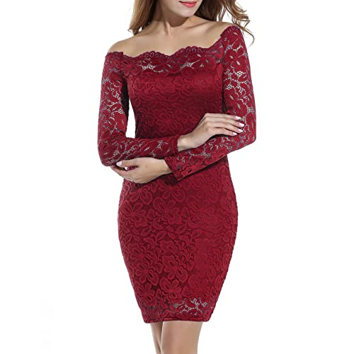 6abe9e3d094 ACEVOG Women s Off Shoulder Lace Dress Long Sleeve Bodycon Cocktail Party  Wedding Dresses