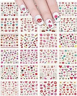 ALLYDREW 24 Sheets Valentine's Day Hearts & Blossoms Water Slide Nail Art Nail Decal Set Water Transfer Nail Art Sheets