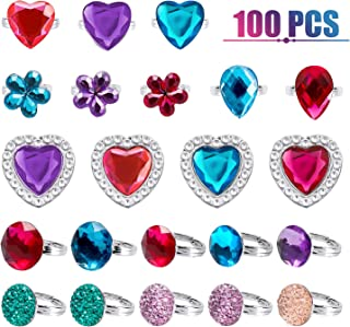 WATINC 24Pcs Adjustable Princess Pretend Jewelry Rings, Girl's Jewelry Dress Up Play Toys, Rhinestone Gift Set in Box for Little Girls, No Duplication Diamond Ring for Children, Party Favors for Kids B-Jewel Rings-100 pack