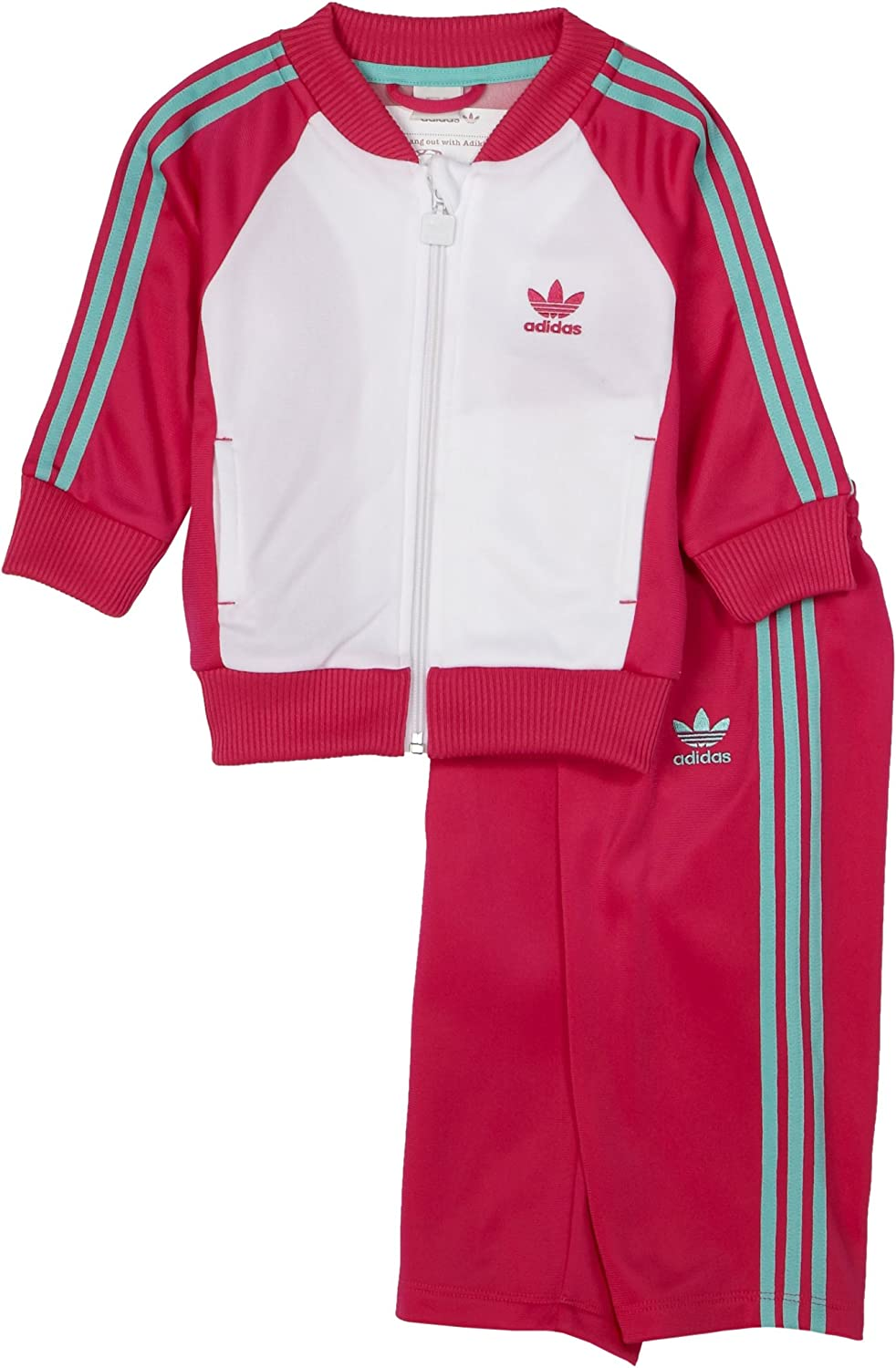 adidas Classic Superstar Tracksuit, White/Pink, 18 Months
