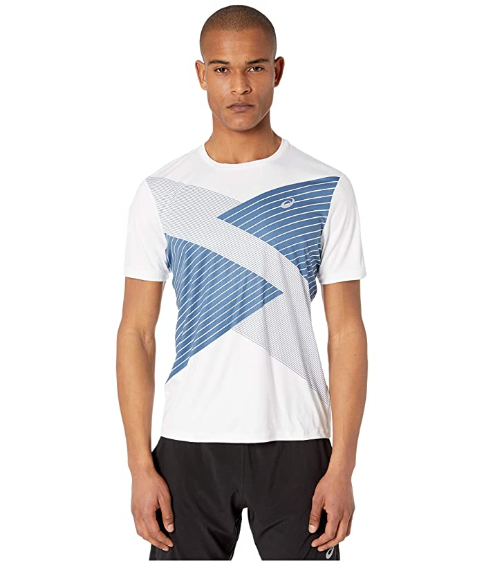 ASICS  Tokyo Short Sleeve Top (Brilliant White/Grand Shark) Mens Clothing