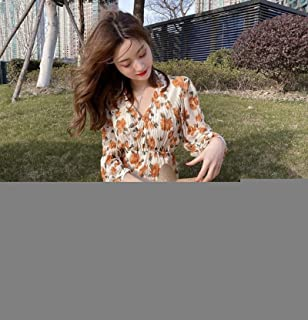 Spring Autumn Little Daisy Fairy Skirt Floral Chiffon Dress High Quality (Color : As Show)