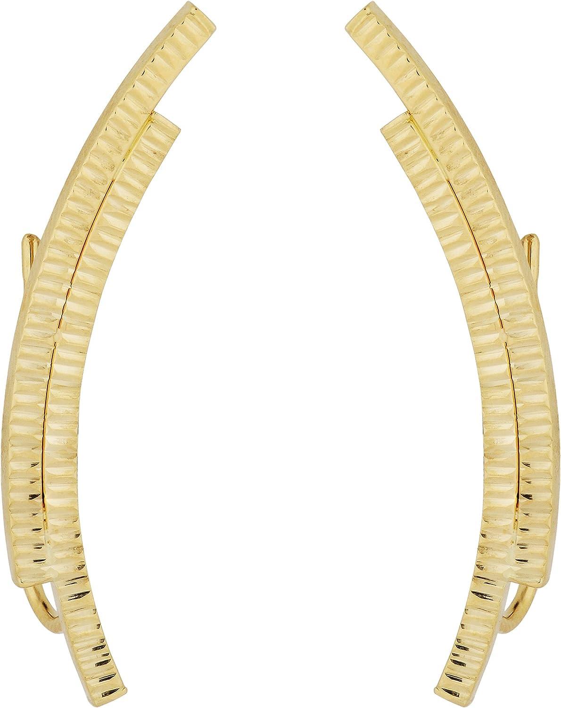 Kooljewelry 14k Yellow Gold 2021 model Double Bar Curved Climber In a popularity Earrings