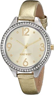 Nine West Women's NW/1657CHGD Crystal Accented Metallic Gold-Tone Strap Watch
