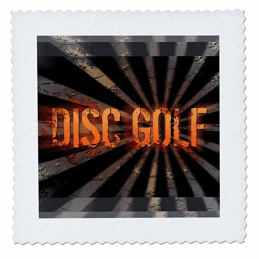 3dRose qs_19462_1 Grunge Explosion Disc Golf Text with Grunge and Starbursting Effects-Quilt Square, 10 by 10-Inch