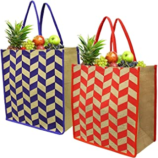 Earthwise Reusable Grocery Bags Shopping Beach Tote Pool Bag Extra Large Cotton Jute Chevron Print Heavy Duty (Set of 2)