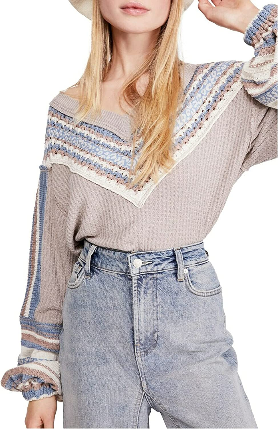 Free People Womens Open Stitch Printed Thermal Top