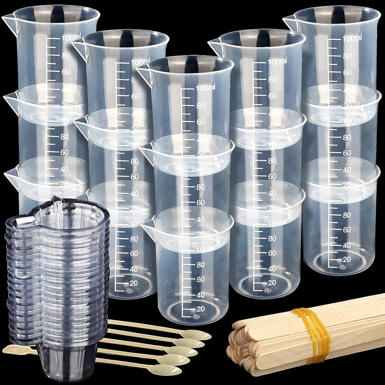 Epoxy Resin Cups, LEOBRO 100PCS Mini Paint Epoxy Resin Mixing Cups, 15PCS 100ml Plastic Measuring Cups for Resin, Epoxy, Graduated Plastic Beaker Cups for Resin Art Crafts, Lab Use, Slime, Soap Making