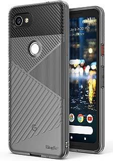 Ringke Bevel Compatible with Google Pixel 2 XL Grip Enhanced Diagonal Line Pattern TPU Form Fitting Drop Resistant Defense Minimalism Design Cover Google Pixel 2 XL Case - Smoke Black