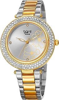 Burgi Women's Diamond & Swarovski Crystal Watch - 4 Genuine Diamond Hour Markers - Accented Flower Design On Stainless Steel Bracelet Watch - BUR179