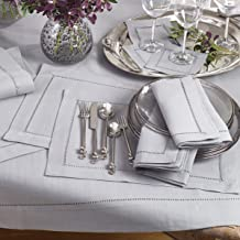 Occasion Gallery Grey Classic Hemstitched Design Polyester 14 x 20 Placemats (12 Pieces).