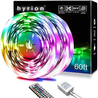 hyrion Led Strip Lights 60ft, 2 Rolls of 30ft RGB Led Lights Strip Kit with 44 Keys Remote Color...