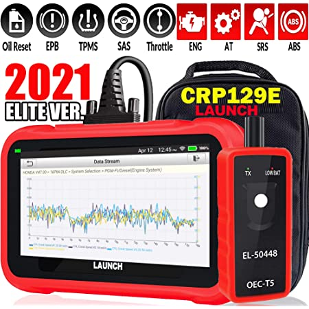 LAUNCH OBD2 Scanner CRP129E Scan Tool Code Reader for Engine//ABS//SRS//Transmission Systems with Oil lamp//EPB//SAS//TPMS//TPS Reset,Auto VIN,Free Update TPMS Tool EL-50448,Advanced Version of CRP129