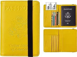 RFID Blocking Leather Passport Holder Cover Case Travel Wallet Elastic Strap(Yellow NP fresh yellow)